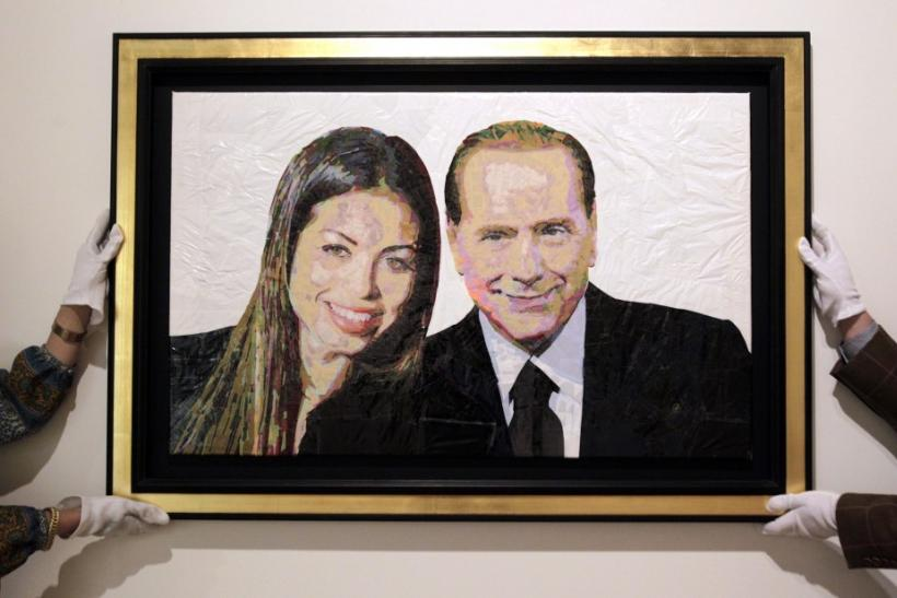 Former Italian prime minister Silvio Berlusconi with Moroccan dancer Karima el-Mahroug, aka Ruby the Heartstealer, in portrait made of bin bags