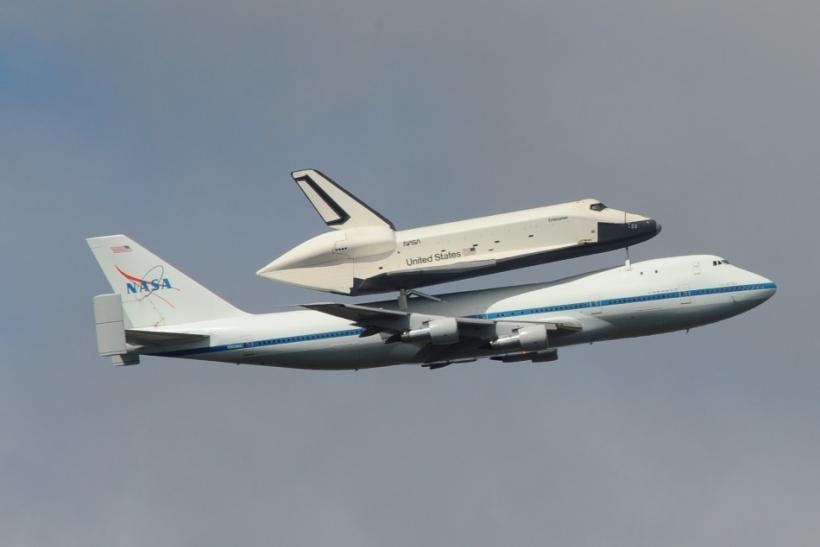 Space shuttle Enterprise approaching New York City