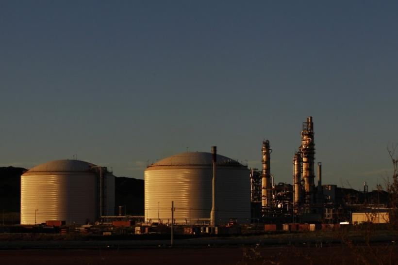 The Woodside gas plant is seen at sunset in Burrup at the Pilbarra region in Western Australia