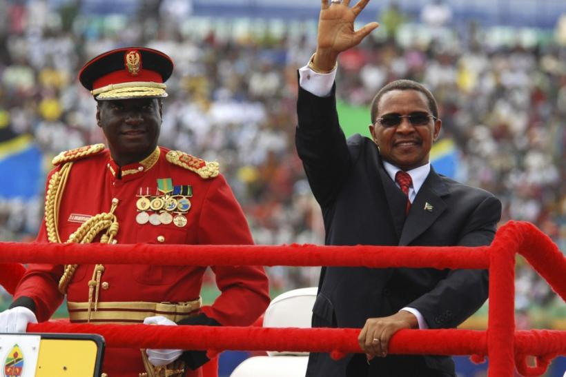 Tanzania's President Kikwete arrives for celebrations marking 50 years of the country's independence at the Uhuru Stadium in Dar es Salaam