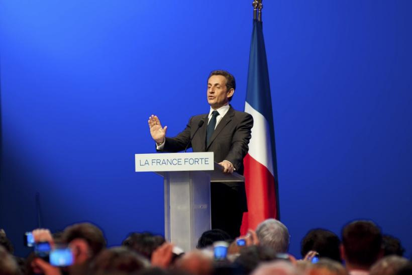 Nicolas Sarkozy, France's incumbent president, reacts after his defeat for re-election in the second round vote of the 2012 French presidential elections at the Mutualite meeting hall in Paris