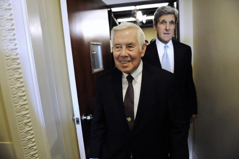 Lugar and Kerry walk out together after a news conference after the Senate ratified the START nuclear arms reduction treaty at the US Capitol in Washington