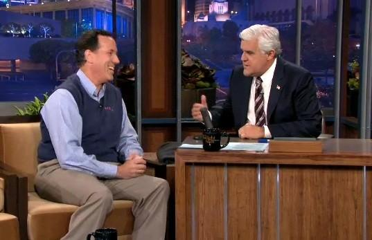"Jay Leno Grills Santorum on ""Buried"" Romney Endorsement, Gay Marriage & Healthcare"