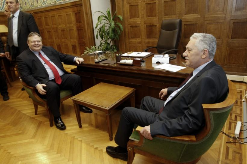 Leader of the Democratic Left party Kouvelis meets leader of the Socialists PASOK party Venizelos in Athens