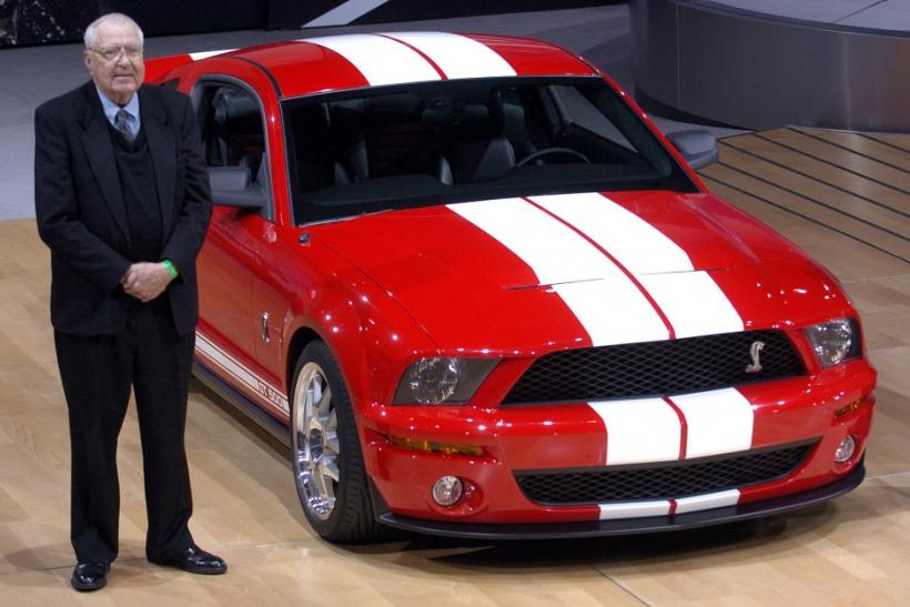Carroll Shelby with new Mustang at the 2005 New York International Auto Show.