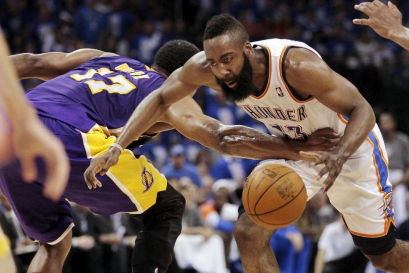 James Harden has struggled in the Finals for the Thunder.