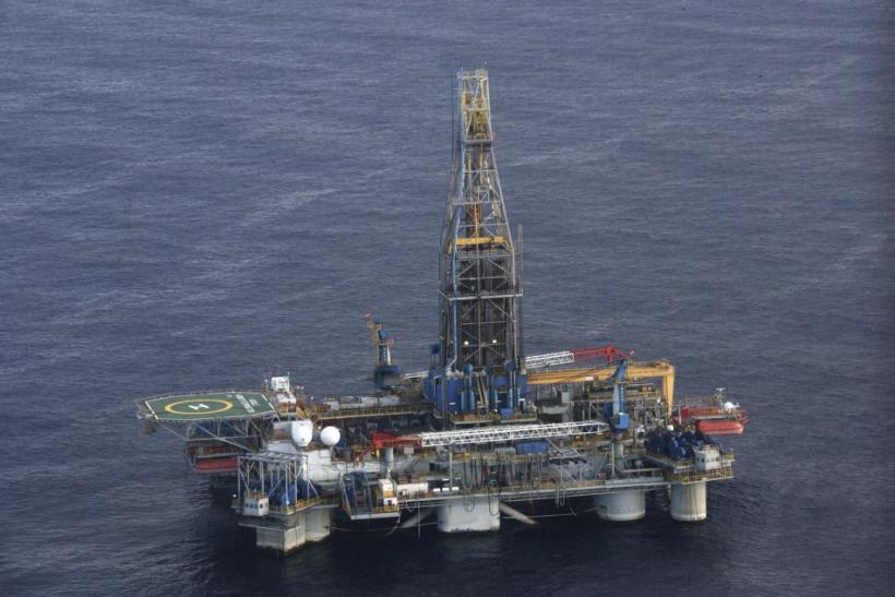 The Homer Ferrington gas drilling rig is seen during President Demetris Christofias' visit to the east Mediterranean island of Nicosia