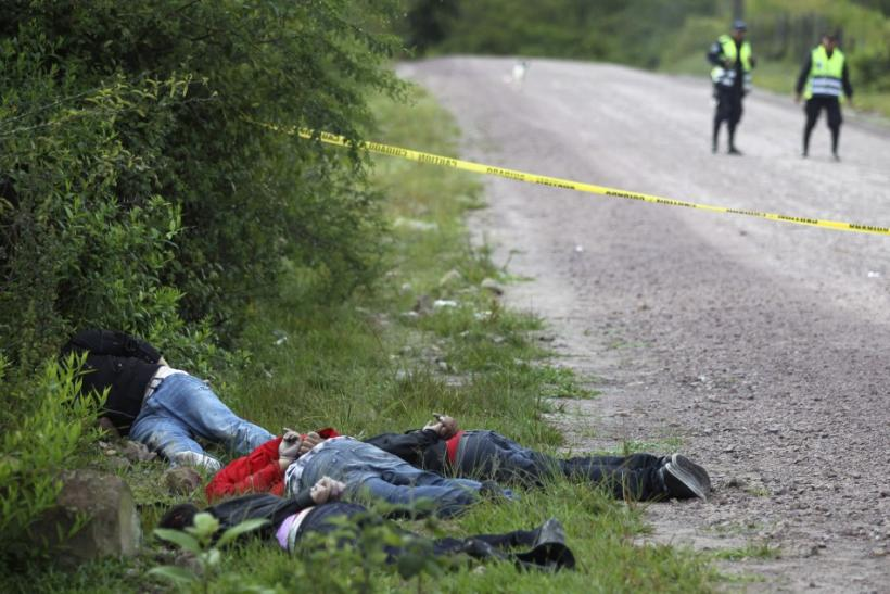 Bodies of four slain men are seen in Tegucigalpa