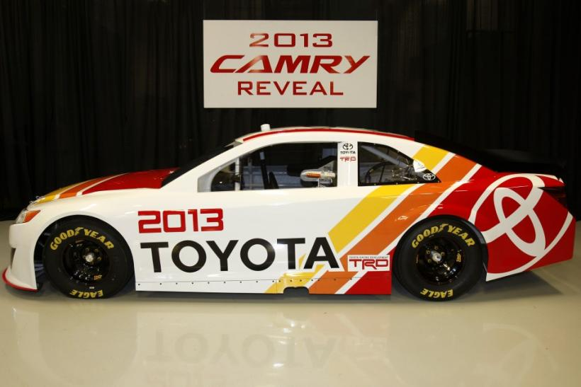 The redesigned 2013 Toyota Camry racecar seen from the side.