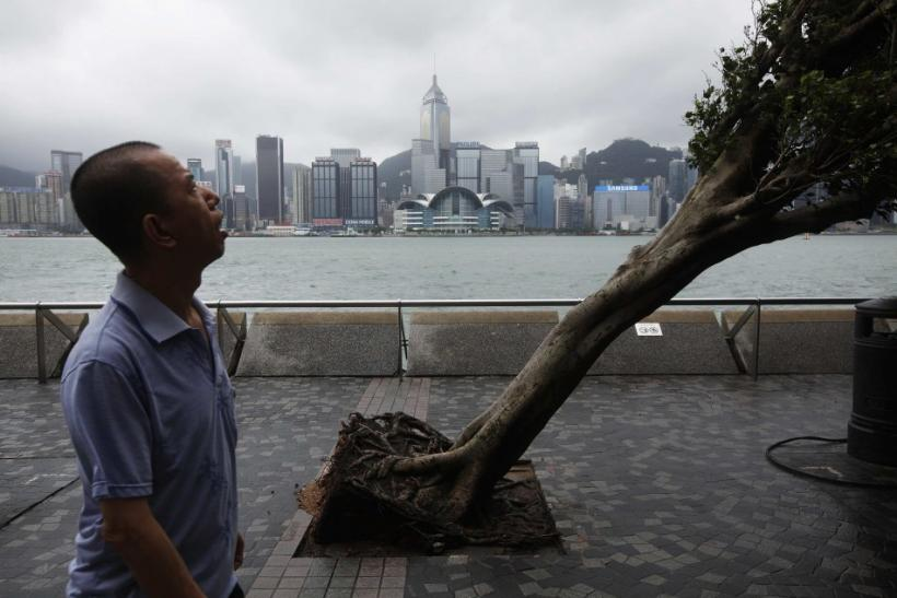 Man Walks Past A Tree Uprooted After Typhoon Vicente In Hong Kong