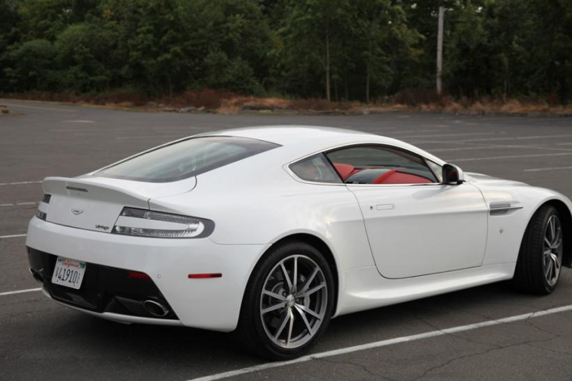 The 2012 Aston Martin V8 Vantage seen from the side.