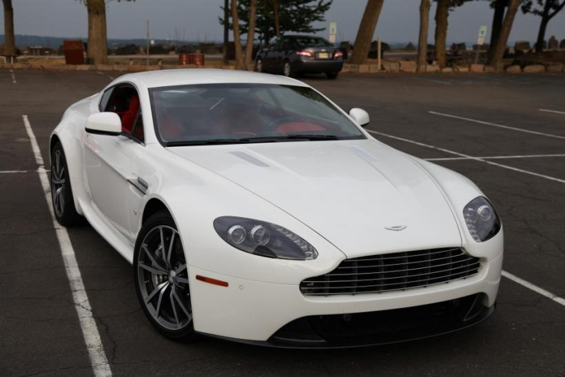 The Aston Martin V8 Vantage parked along the Palisades.