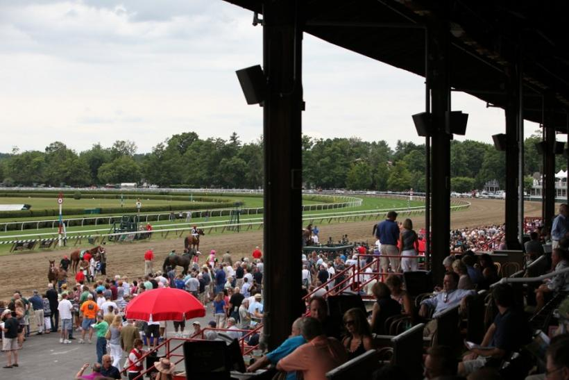 The track at the Saratoga Race Course seen from the grandstand.
