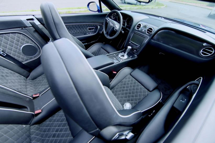 The luxurious interior of the Bentley Continental Supersports Convertible.