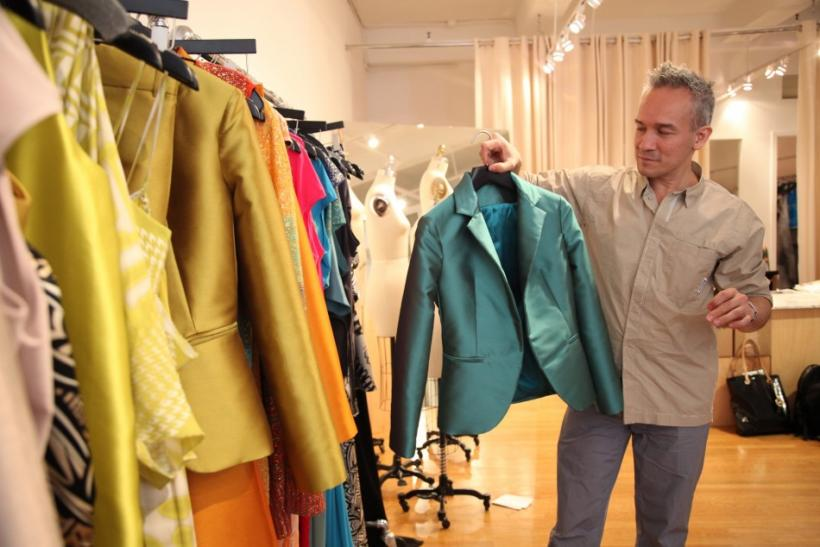 Cesar Galindo shows off his spring 2013 collection, Czar by Cesar Galindo, in his studio ahead of Mercedes-Benz Fashion Week in New York.