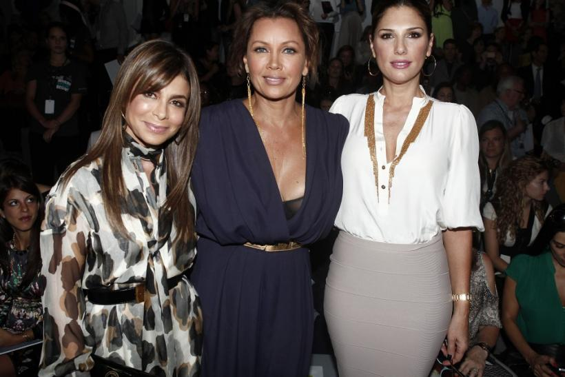 TV personality Paula Abdul (L-R), actresses Vanessa Williams and Daisy Fuentes arrive for the Carlos Miele Spring/Summer 2013 collection show at New York Fashion Week September 10, 2012.