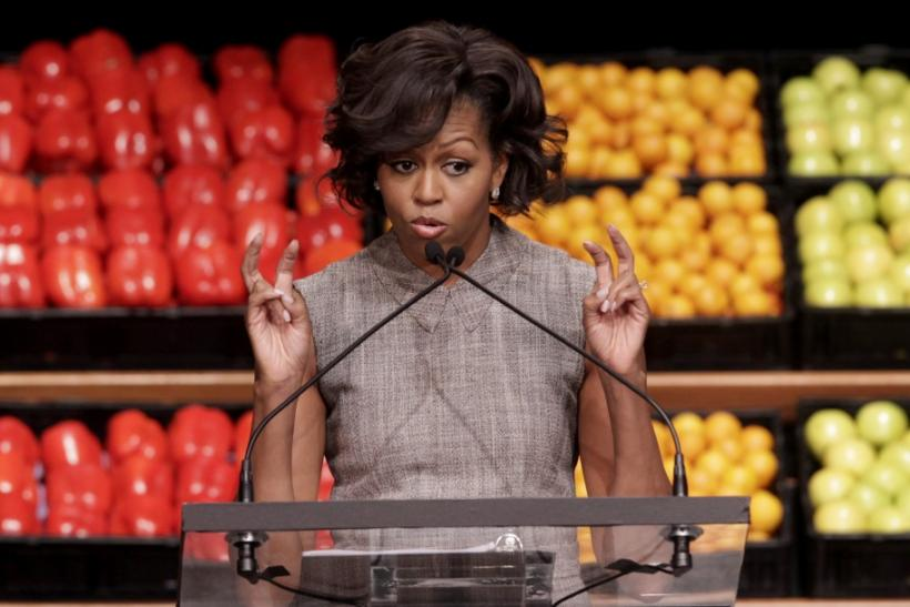 U.S. First Lady Michelle Obama speaks at the Walmart announcement initiative to make food healthier and more affordable in Washington