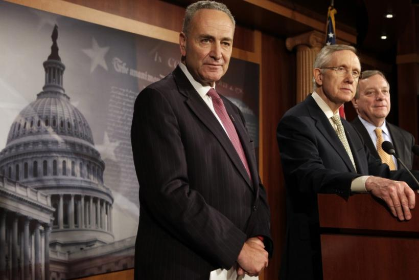 Senate Majority Leader Harry Reid speaks at a news conference in Washington