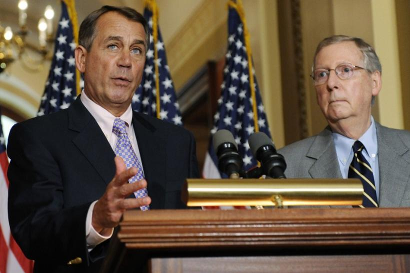 Boehner and McConnell speak at a news conference about the U.S. debt ceili