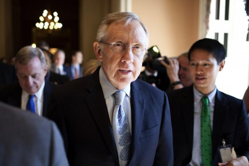 Harry Reid speaks with reporters after meeting with House Democratic leadership on the debt ceiling crises on Cap