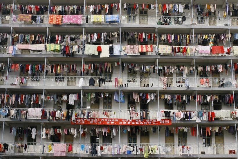 Laundry hangs outside a student dormitory at a college in Wuhan