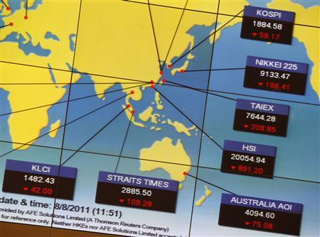 A panel displays stock indexes of Asian markets at an exhibition hall of the Hong Kong Stock Exchange