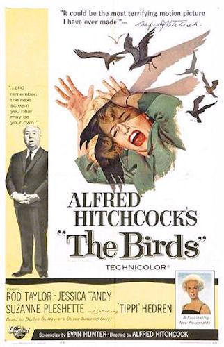 "Tippi Hendren and Alfred Hitchcock appear on the original poster for ""The Birds"""