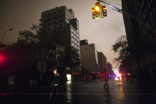 Flooded street during a blackout in Chelsea