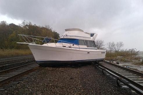Boat On Metro-North Tracks
