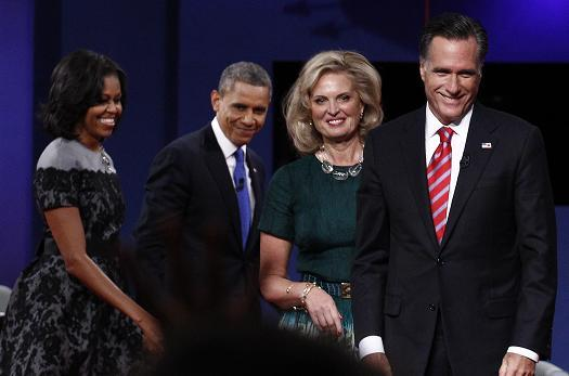 Pres Debate Obama Romney and wives Nov 2012 2