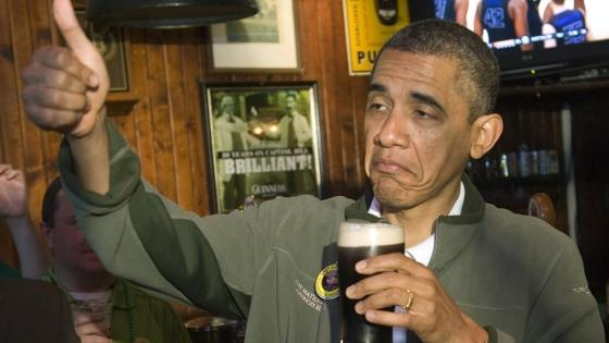 Barack Obama loving beer. The White House Honey Ale.