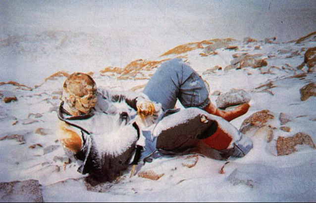 Frozen body on Mt. Everest