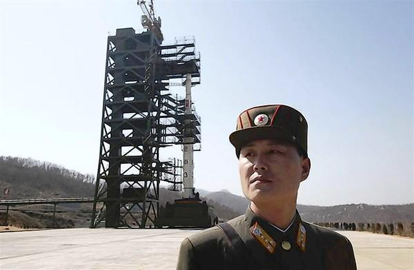 North Korean soldier prepares for December rocket launch