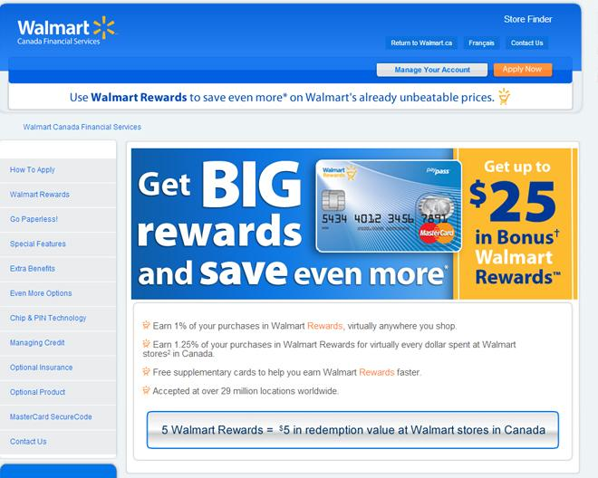 Wal-Mart Financial Services in Canada [Website screenshot]