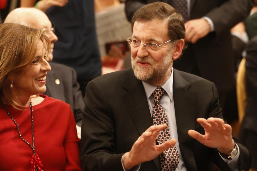Spain's Prime Minister Mariano Rajoy and Madrid's Mayor Ana Botella