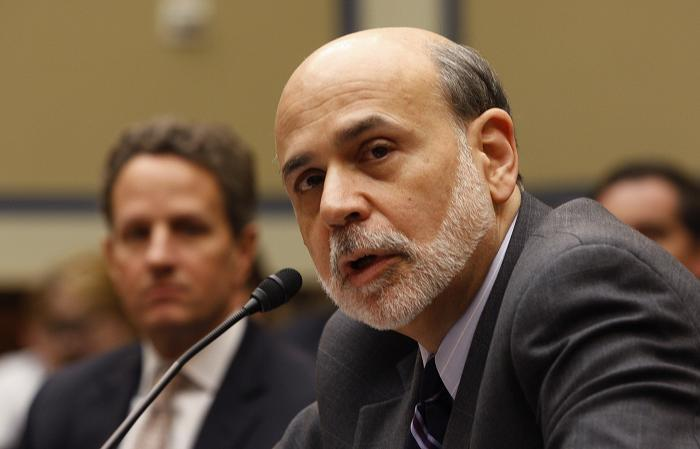 Bernanke Geithner March 2012 seated 2