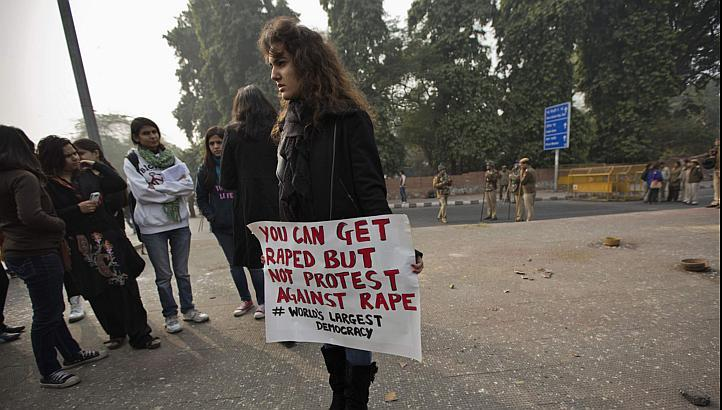 A demonstrator holds a placard as she takes part in a protest rally in New Delhi on Dec 27, 2012. India's external Affairs Minister Salman Khurshid, responding to a growing controversy over the move to send the 23-year-old gang rape victim to Singapore fo