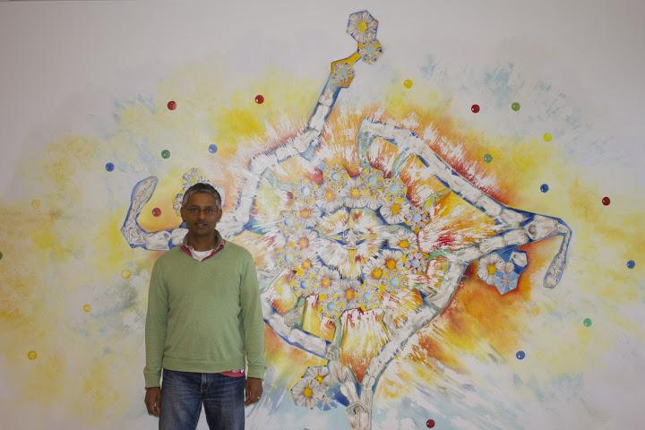 Balasubramanian With Painting of 4-Stranded DNA Structure