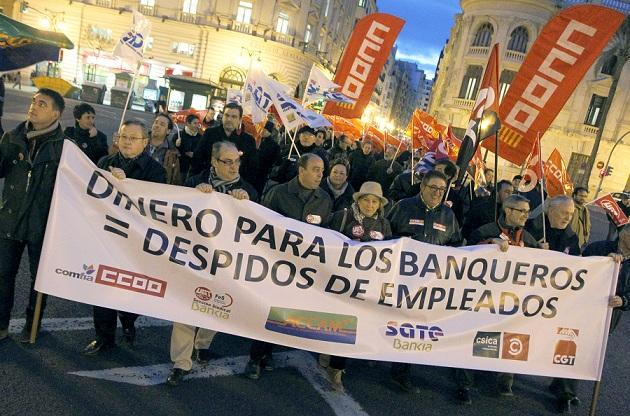 Spain Valencia bank protest Jan 2013 2