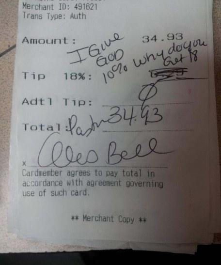 'God Receipt' Waitress At Applebee's Fired