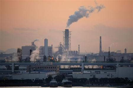 File Photo of factories at an industrial zone as seen from Haneda airport in Tokyo