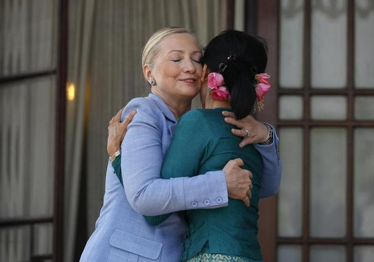 Clinton and Burmese Democracy Leader Aung San Suu Kyi, December 2, 2011