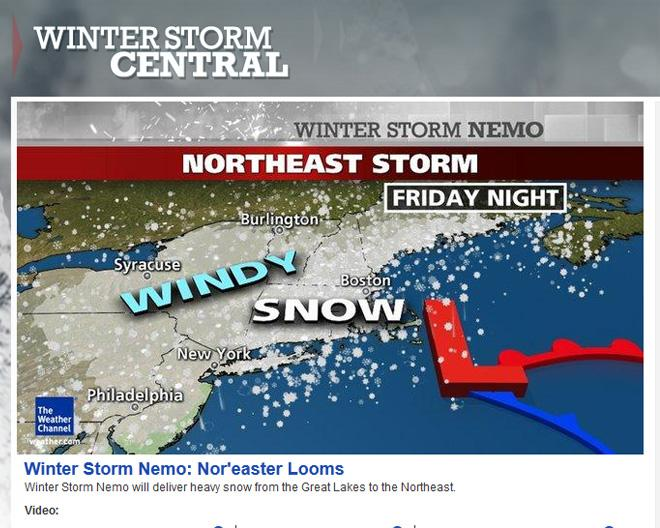 Screen-grab of Weather Channel (Winter Storm Nemo)