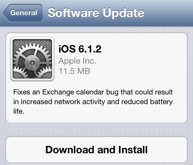 iOS 6.1.2 firmware update