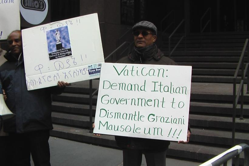 Ethiopian protest outside Vatican Mission