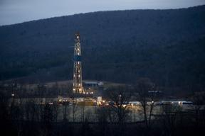 Natural gas drilling rig near Canton, Pa.