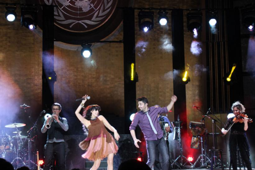 Rita and her band dance in the U.N. General Assembly Hall