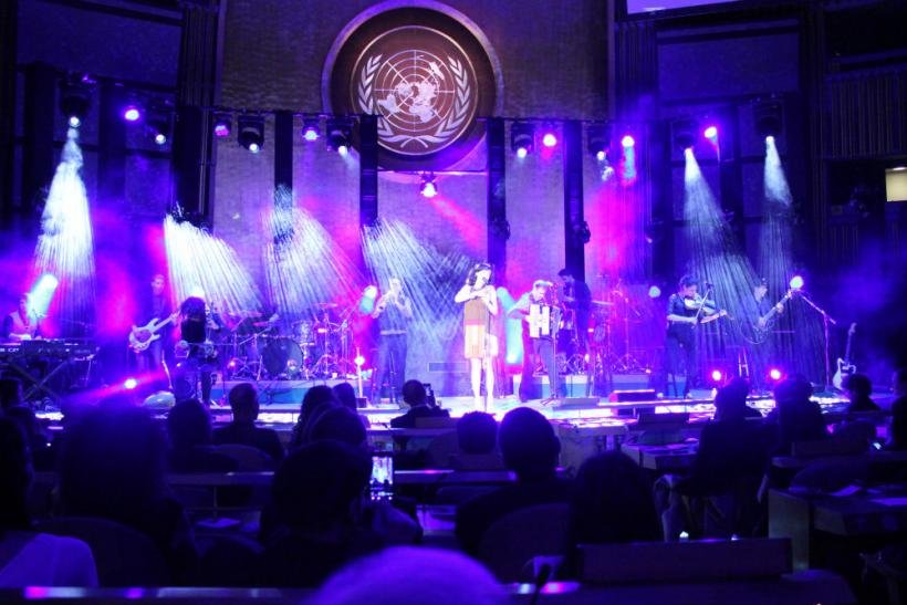 Rita and her band on the U.N. stage