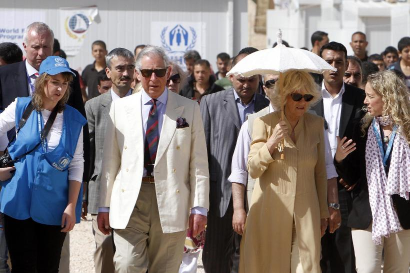 Prince Charles and Camilla in Jordan with UNHCR volunteers