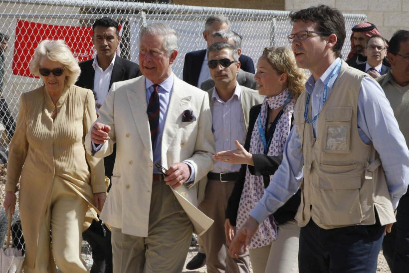 Prince Charles, Camilla, and UN personnel in Jordan